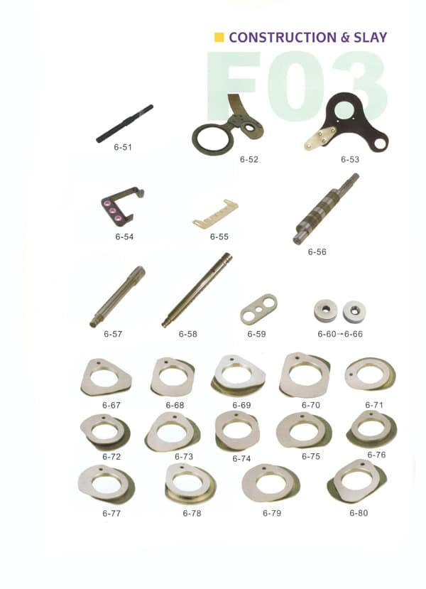 CAM, Lever Axle, Angle Lever, Contact Bar Gudie for Sulzer Looms